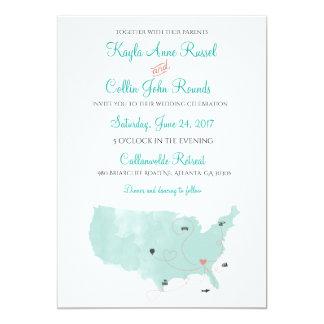 Viaje de la invitación del boda del destino del