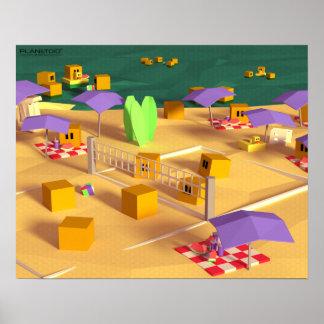 Viaje de la playa, serie de los posters de póster