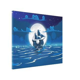 Viaje de madera de la nave de la vela en el claro  impresión en lona estirada