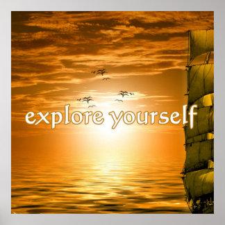 viaje de motivación inspirado del velero póster