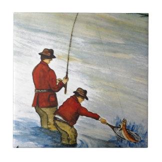 Viaje de pesca del padre y del hijo azulejo de cerámica