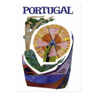 Viaje de Portugal de la línea aérea del vintage Postal