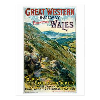 Viaje del vintage al anuncio de País de Gales Postal