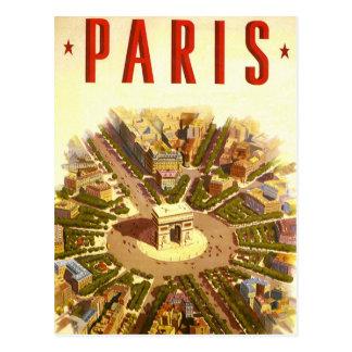 Viaje del vintage, Arco del Triunfo París Francia Tarjeta Postal