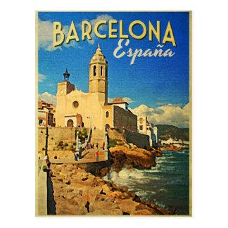 Viaje del vintage de Barcelona España Postal