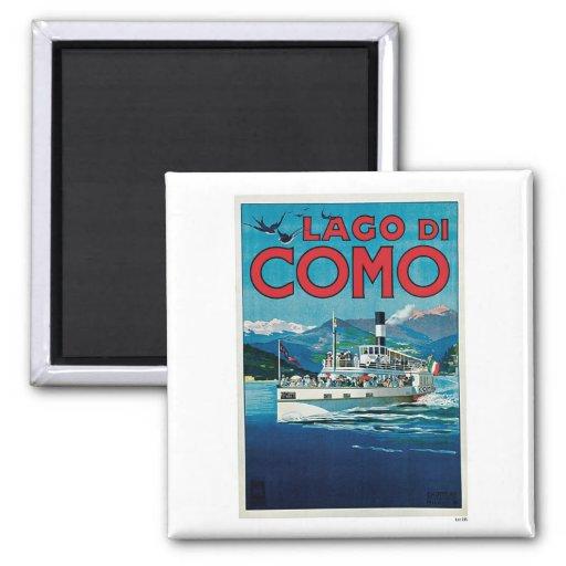 Viaje del vintage de Lago Di Como Italia Imán Para Frigorífico