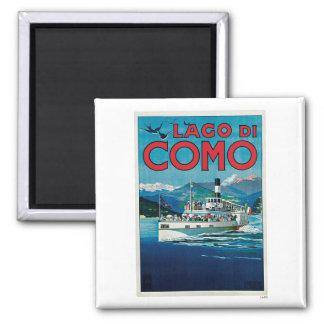 Viaje del vintage de Lago Di Como Italia Imán Cuadrado