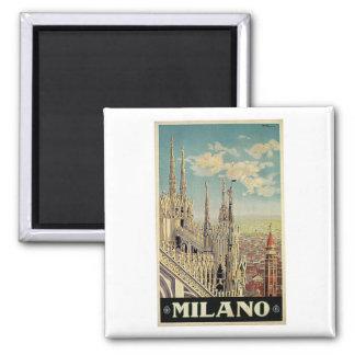 Viaje del vintage de Milano Milano Italia Imán Cuadrado