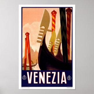 Viaje del vintage de Venezia Venecia Italia Póster