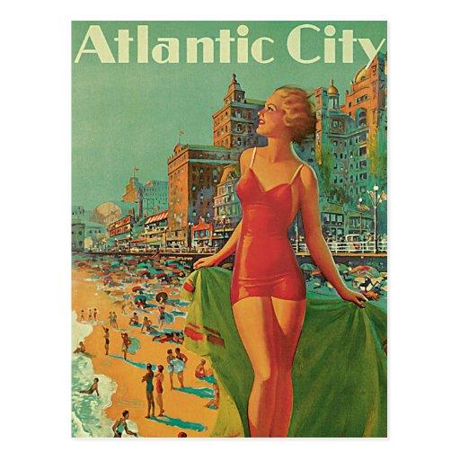 Viaje del vintage; El centro turístico de Atlantic Postales