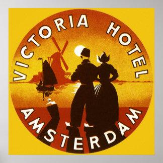 Viaje del vintage, hotel de Victoria, Amsterdam, Póster
