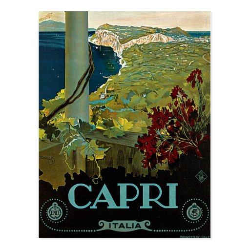 Viaje del vintage, isla costa de Capri, Italia Ita Postales