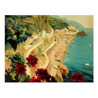 Viaje del vintage, playa italiana de la costa de postal