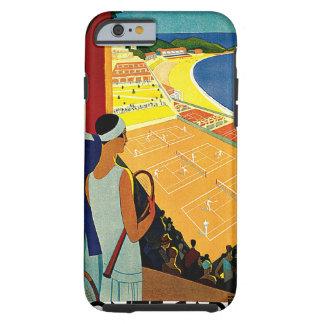 Viaje del vintage, tenis, deportes, Monte Carlo Funda De iPhone 6 Tough