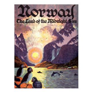 Viaje del vintage, tierra del fiordo de Noruega de Tarjeta Postal