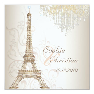 Viaje Eiffel/París del la de PixDezines Invitación 13,3 Cm X 13,3cm