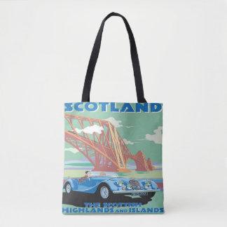 Viaje en coche de la bolsa de asas del vintage de