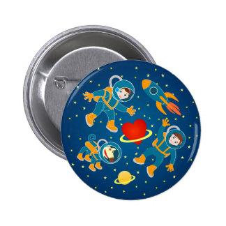 Viaje espacial del amor de los astronautas de los chapa redonda 5 cm