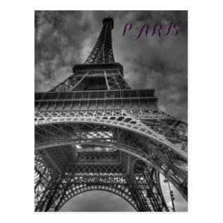 Viaje europeo de París de la torre Eiffel negra y Postal