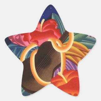 Viaje hawaiano de la estrella de la noche del calcomania forma de estrella personalizada
