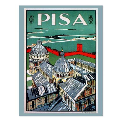 Viaje italiano de Pisa de los años 20 del vintage Postales
