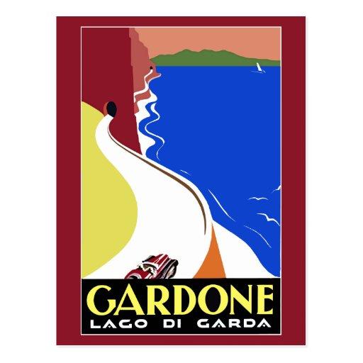Viaje italiano retro de Gardone Riviera del art dé Postales