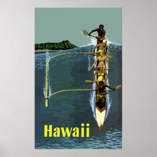 Viaje nativo de Hawaii de la línea aérea de la Póster