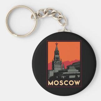 viaje retro del art déco de Moscú Rusia el Kremlin Llavero Redondo Tipo Chapa