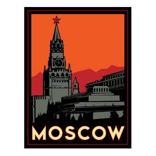 viaje retro del art déco de Moscú Rusia el Kremlin Tarjeta Postal