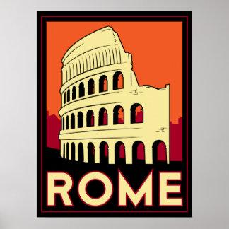 viaje retro del vintage de Europa del coliseo de R Póster