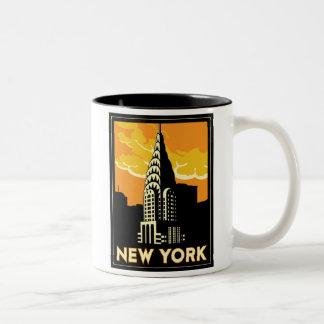 viaje retro del vintage de Nueva York Estados Taza De Café De Dos Colores