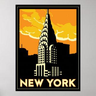 viaje retro del vintage de Nueva York Estados Unid Póster
