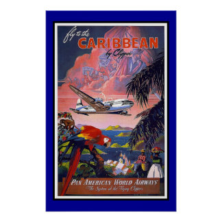 Viaje retro el Caribe de la imagen del vintage de  Póster