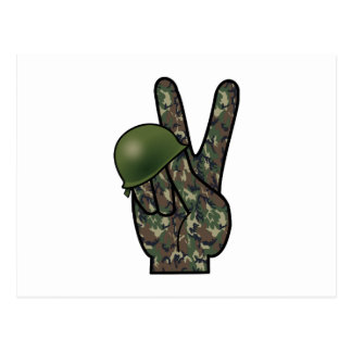 Victoria/signo de la paz de la mano del camuflaje postal