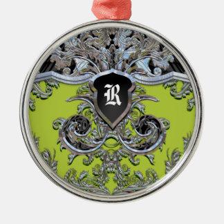 Victorian del monograma del viñedo de Waydhill Adorno Navideño Redondo De Metal