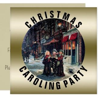Victorian del oro del fiesta el   de Caroling del Invitación 13,3 Cm X 13,3cm