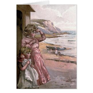 Victorian del vintage y lindo: Niños en la playa Tarjeta De Felicitación