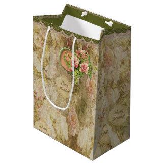 Victorian descolorado envejecido subió - bolsa de regalo mediana