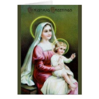 Victorian Maria y tarjeta de Navidad de Jesús del
