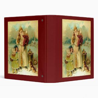 Victorian Papá Noel del vintage y niños Carpeta 2,5 Cm