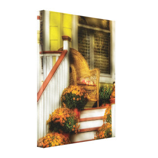 Victorian - pórtico - teniendo en cuenta otoño impresion de lienzo