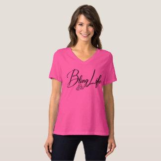 Vida Bella de Bling+Camiseta del cuello en v del Camiseta