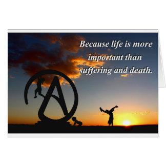 Vida contra el sufrimiento tarjeta de felicitación