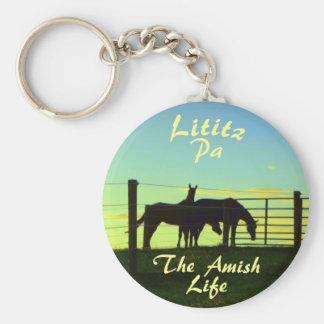 Vida de Amish, caballos Ketchain de Lititz Llavero Redondo Tipo Chapa