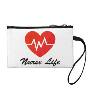 Vida de la enfermera, modelo del corazón de EKG Clutch Tipo Monedero