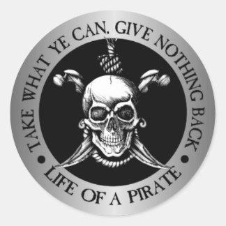 Vida de un pirata - tome puede qué YE Pegatina Redonda