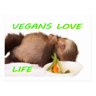 vida del amor de los veganos, slothie postal