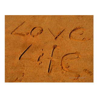 """Vida del amor"" escrita en arena Postal"