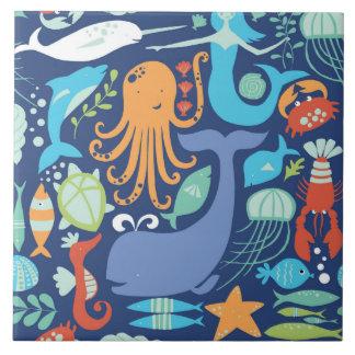 Vida marina animada azulejo