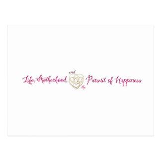 Vida, maternidad, logotipo de la felicidad postal